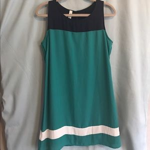 blue/green shift dress by Pink Owl