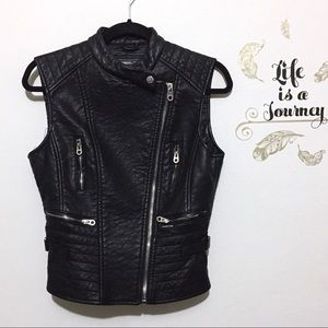 NWT Members Only Vegan Leather Moto Vest
