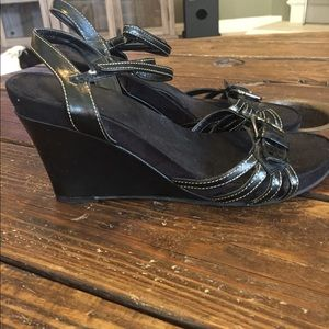 Aerology Shoes - Black Wedge Sandals