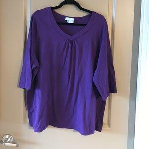 Liz & Me Tops - Purple Embroidered Tshirt
