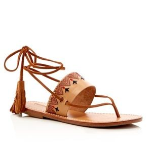 Soludos Shoes - ☀️Soludos Tan Embroidered Lace Up Flat Sandals