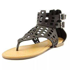 Adriana New York Shoes - 🆕List! Black Leather Caged Gladiator Sandals! NEW