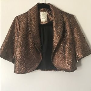 Anthro Shrug Or Cropped Foiled Jacket