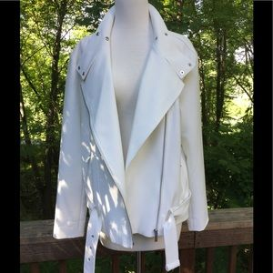 Trouve Jackets & Blazers - Nordstrom Trouve White Moto Jacket Large