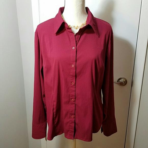 50 Off Apt 9 Tops Apt 9 Burgundy Stretch Dress Shirt