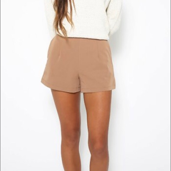 Peppermayo Pants - Peppermayo tan high waisted shorts
