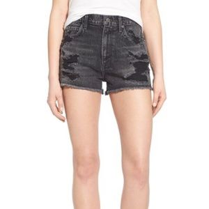 Agolde Pants - Black ripped jean shorts