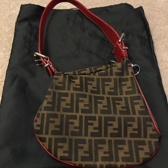 6a64243ad604 Fendi Handbags - Fendi Zucca monogram red leather trim oyster bag