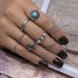 Jewelry - Brand New Set of 8 Bohemian Hippie Silver Rings