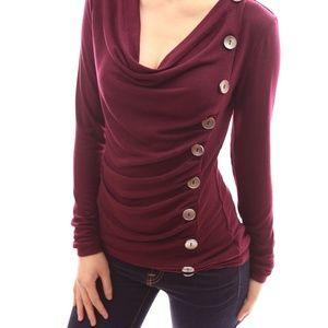 PattyBoutik Sweaters - Patty Boutik cowl neck button sweater