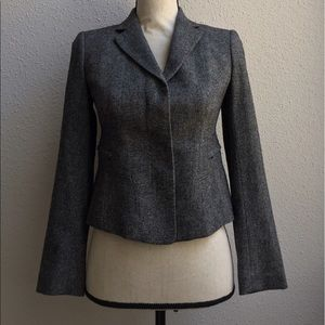 Classic Wool Blend Gray Career Tailored Blazer