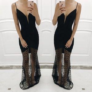 • Sabrina Sheer Black Formal Dress •