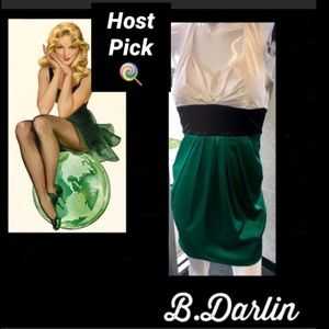 B DARLIN•Satin Color Block Halter Dress
