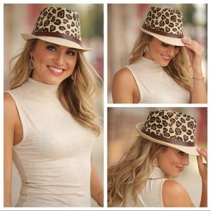 Leopard Print Fedora Hat with Vegan Leather Band