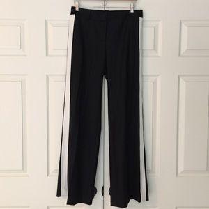 Robert Rodriguez Pants - Robert Rodriguez Black Wool Tuxedo Stripe Trousers
