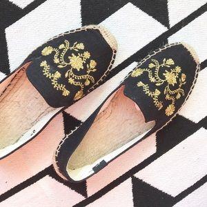 Soludos Shoes - Soludos Black Gold Espadrille Slip On Flats