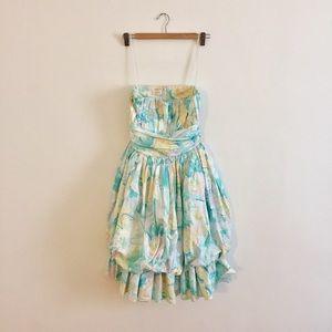 Vintage Anthony Muto 80s Strapless Dress Pastels
