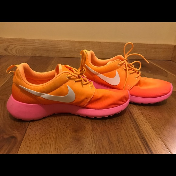 new product 81d9a 10219 nike roshe run pink and orange ombre dress