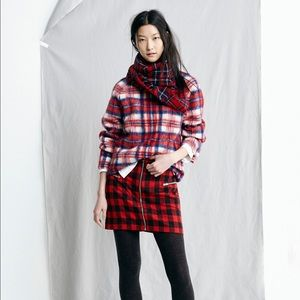 Madewell Women's Red Brushed Plaid Pullover Top