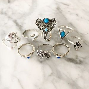 "Jewelry - ⚜""Bali"" Silver and Turquoise Midi Ring Set 💍🐘"