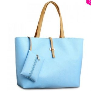 Handbags - Large Blue Tote with matching coin purse