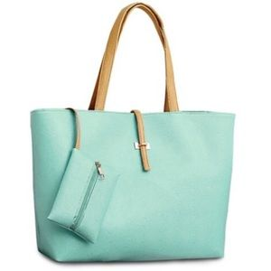 Handbags - light green Large Tote with matching coin purse