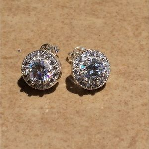 Silver Plated Round Cubic Zirconia Halo Studs