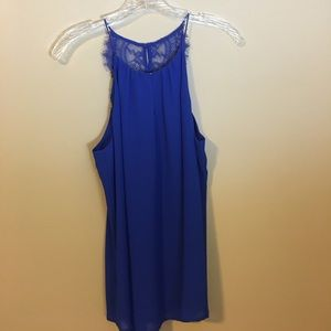 Anna Grace Tops - Royal blue tank with lace detail