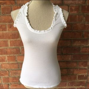 Tops - Cute Raceback White Top With Ruffle Detail - XS/S