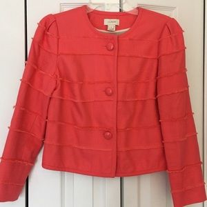 J.crew coral cropped fray jacket