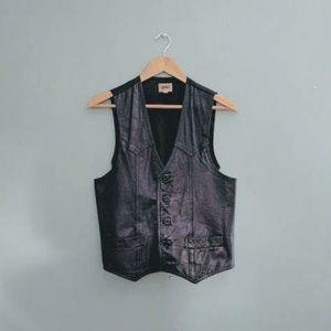 vintage 70's gap leather vest in black