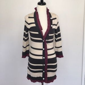 Twelve by Twelve Sweaters - Twelve by Twelve Striped Crystal Button Cardigan