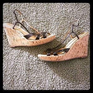 Steve Madden Shoes - Steve Madden Cherr black cork wedge sandals 9