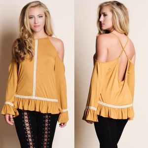 CHARLIE cold shoulder top - MUSTARD