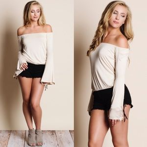 ARA off shoulder bell sleeve top - BEIGE