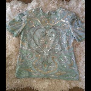 Sequins blue vintage blouse