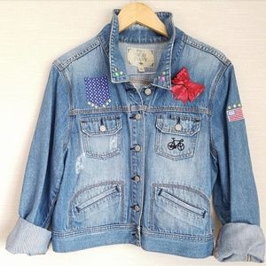 Old Navy Jackets & Blazers - 🖤HP🖤Custom Distressed San Francisco Denim Jacket