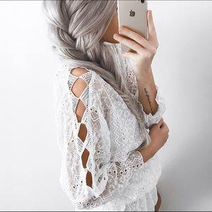 Gypsy 05 Dresses & Skirts - White lace mini dress tunic