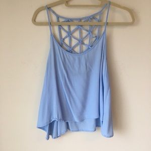 Tops - Olivaceous Strappy Cage Back Light Blue Tank Top