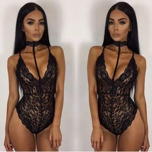 "Other - ""Carmen"" || Black Lace Choker Bodysuit 💋"