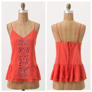 Anthropologie Coral Cotton Tank