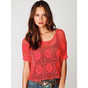 Free People Crochet Pink Top