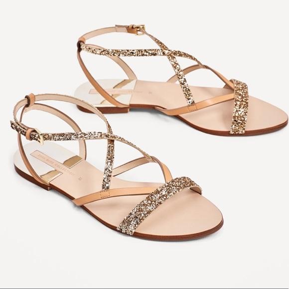 b33ce9d4322f Zara flat sandals with shiny straps