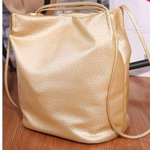 Handbags - Beautiful Gold Vegan Leather Bucket Bag