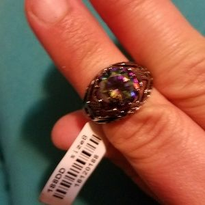 Accessories - Gunmetal ring with iridescent gems
