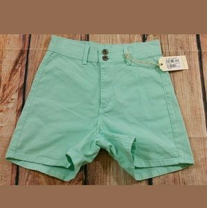 Angry Rabbit Pants - Angry Rabbit Mint Green High Waisted Shorts