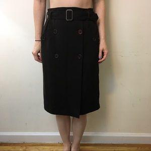 Miu Miu Dresses & Skirts - Miu Miu Brown Wool Button Belted Midi Skirt
