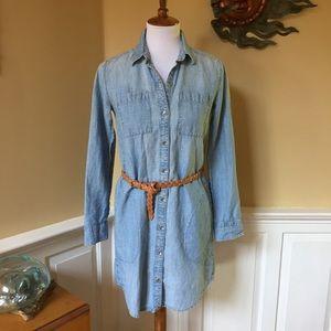 GAP Chambray Button Front Shirt Dress