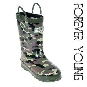 Forever Young Other - Kids Faux Fur Lined Rainboots, K-1553, Camo
