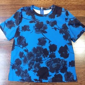 WELLS GRACE blue and black floral top